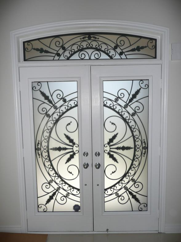 Gl Entry Door Inserts Wrought Iron Stained