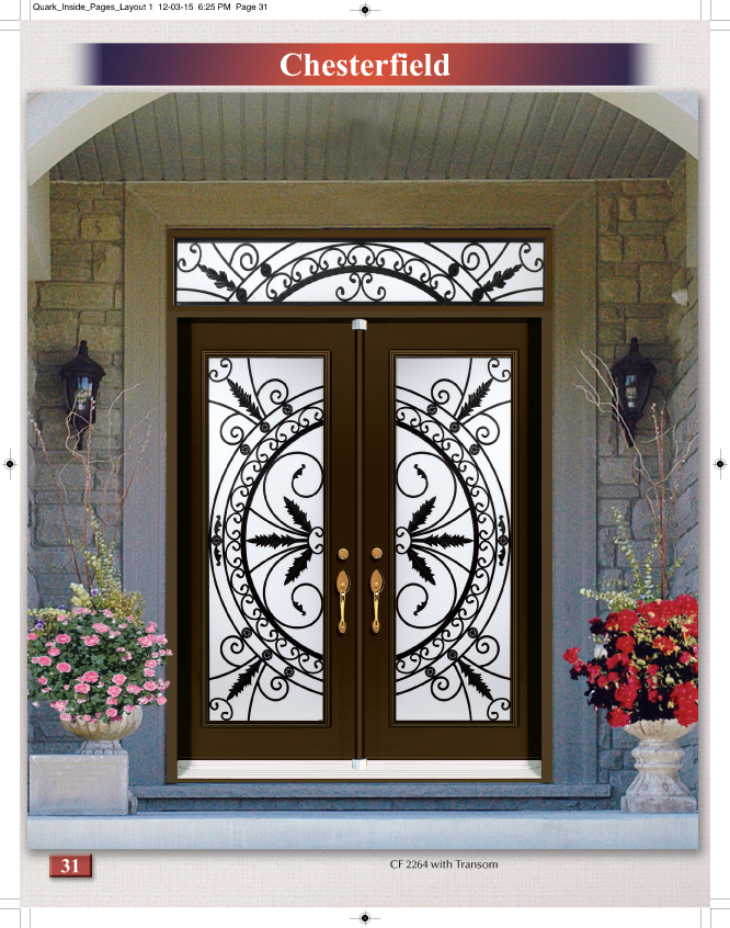 Chesterfield Available In Full Size Only Wrought Iron Gl Door Inserts Showroom Newmarket